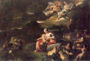 Luca Giordano - Leto turns peasants into frogs