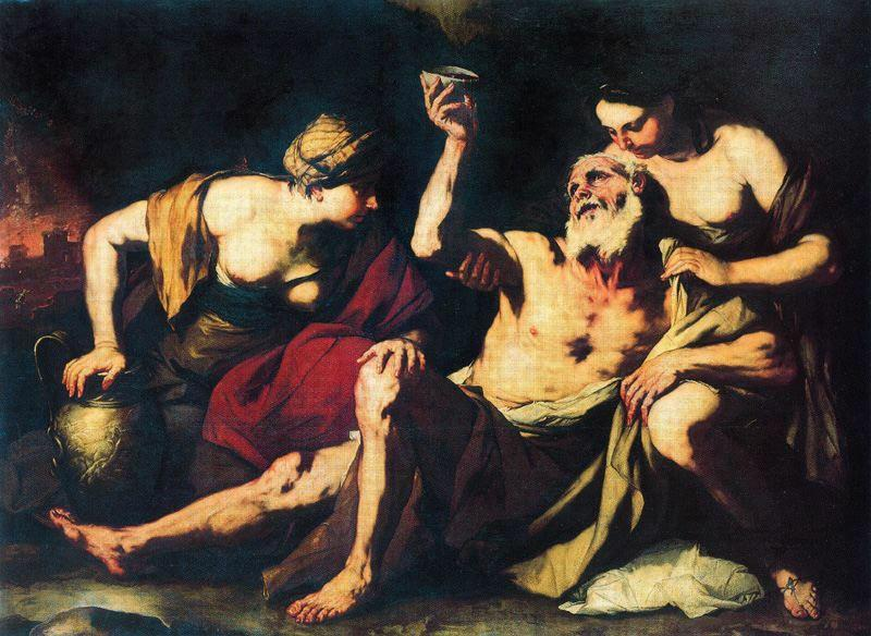 Lot and His Daughters by Luca Giordano (1634-1705, Italy)