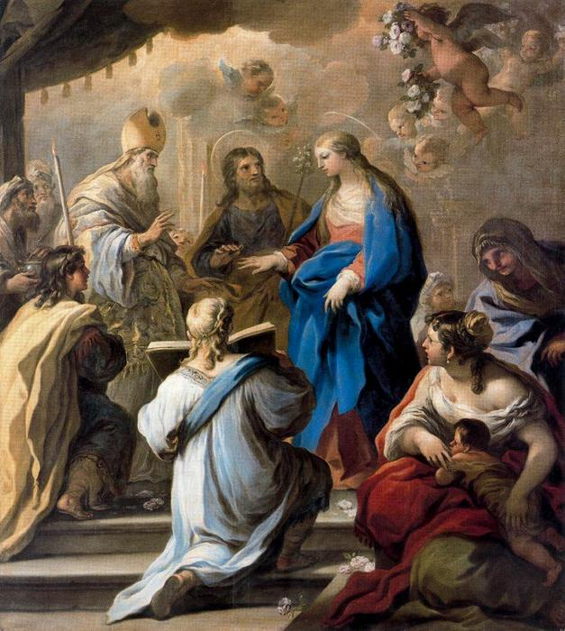 Marriage of the Virgin by Luca Giordano (1634-1705, Italy)