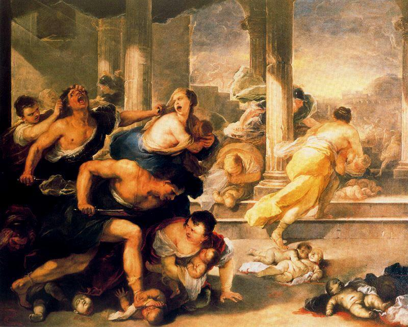 Massacre of the Innocents by Luca Giordano (1634-1705, Italy)
