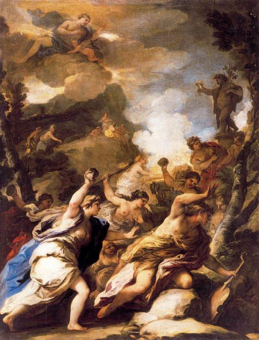 Orpheus and the Bacchae by Luca Giordano (1634-1705, Italy)