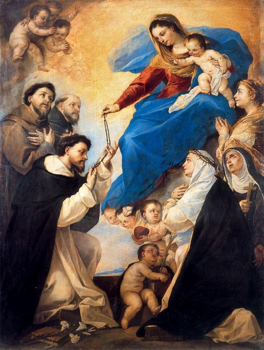 Our Lady of the Rosary by Luca Giordano (1634-1705, Italy)