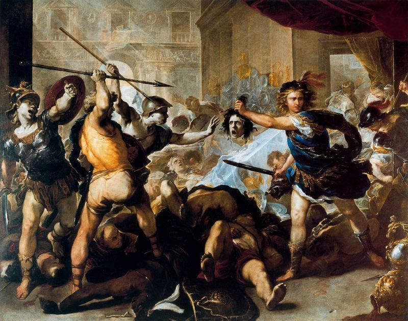 Perseus fights against Phineus and his fellow by Luca Giordano (1634-1705, Italy)