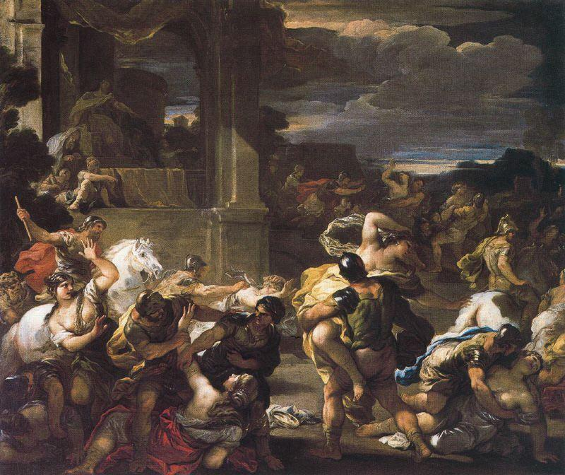 Rape of the sabine woman 1 by Luca Giordano (1634-1705, Italy)