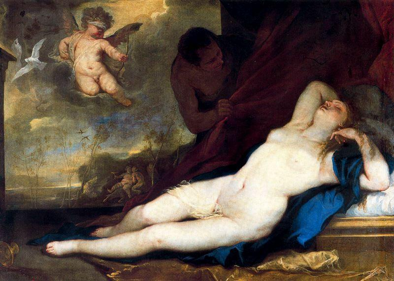 Sleeping Venus with Cupid and Satyr by Luca Giordano (1634-1705, Italy)