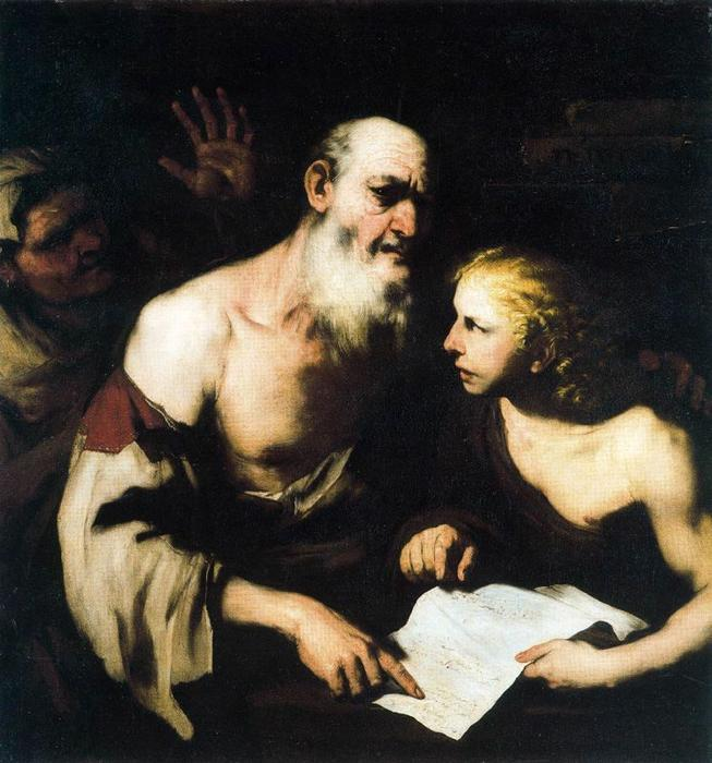 Socrates and Alcibiades Santippe by Luca Giordano (1634-1705, Italy)