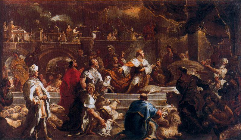 Solomon making sacrifices to the Lord before you start building the temple by Luca Giordano (1634-1705, Italy)