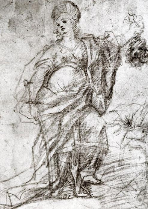 Study for the figure of Judith by Luca Giordano (1634-1705, Italy)