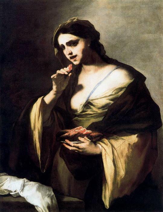 Suicide of Portia by Luca Giordano (1634-1705, Italy)