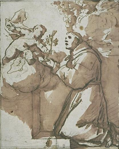 The Christ child holding a branch of lilies to St. Anthony of Padua by Luca Giordano (1634-1705, Italy)