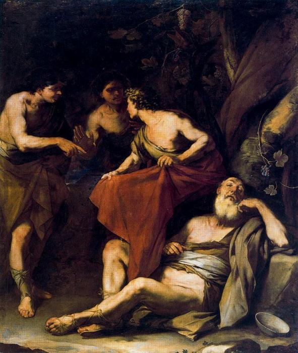 The drunkenness of Noah by Luca Giordano (1634-1705, Italy)