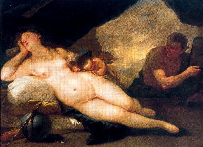 Venus and Cupid with a Satyr dormant by Luca Giordano (1634-1705, Italy)