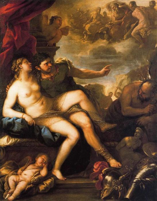 Venus and Mars Caturatti by Vulcan by Luca Giordano (1634-1705, Italy)