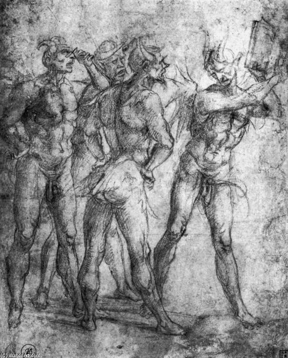 Four Demons with a Book, Pencil by Luca Signorelli (1445-1523, Italy)