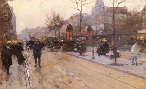 Aloys François Joseph Loir (Luigi Loir) - A Parisian Street Scene with Sacre Coeur in the back