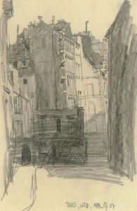 Lyonel Feininger - Buildings at a dead end, Paris