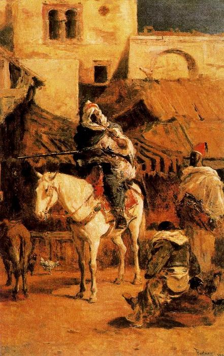 Arabic horseman in Tangier by Mariano Fortuny (1871-1949, Spain)