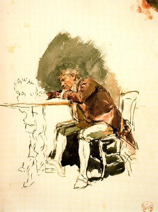 Man leaning on a table by Mariano Fortuny (1871-1949, Spain)