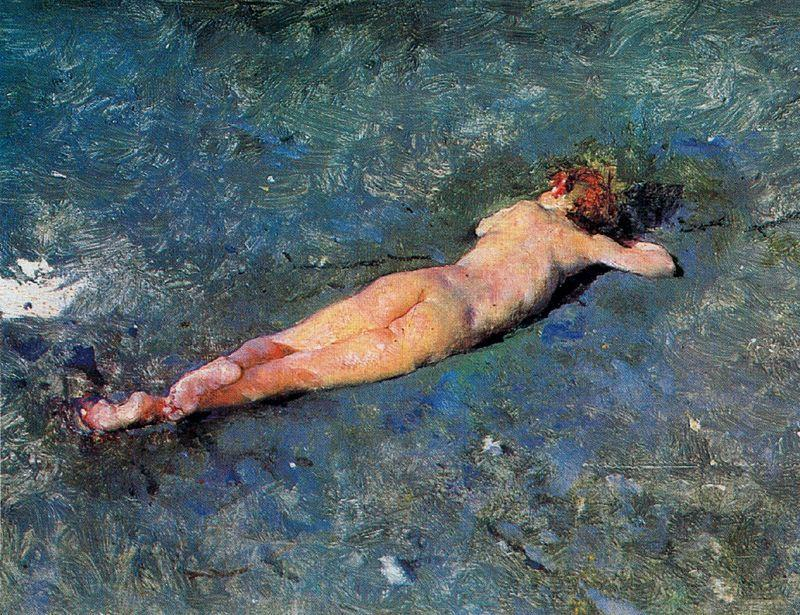 Naked on the beach at Portici by Mariano Fortuny (1871-1949, Spain)