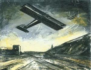 Mario Sironi - Landscape with airplanes
