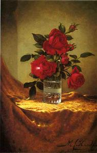 Martin Johnson Heade - A Glass of Roses on Gold ..