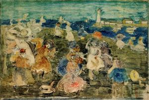 Maurice Brazil Prendergast - Beach Scene with Lighthouse (aka Children at the Seashore)