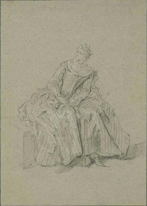 Seated women, in striped dress by Nicolas Lancret (1690-1743, France)