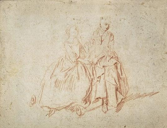 Two women sitting, holding hands by Nicolas Lancret (1690-1743, France)