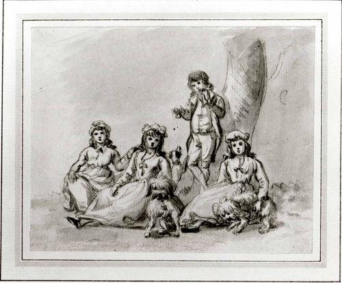 A Group of Four Children, with Dogs by Paul Sandby (1798-1863, United Kingdom)