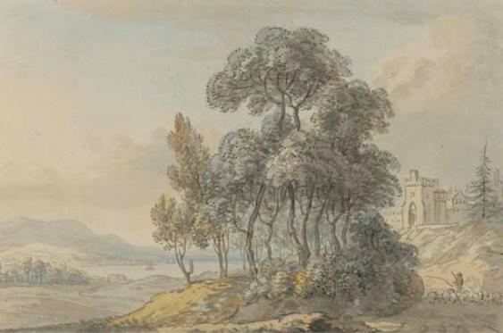 A shepherd driving his flock before a Scottish castle by Paul Sandby (1798-1863, United Kingdom)