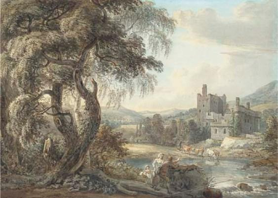 A wooded river landscape with figures and cattle, a castle beyond by Paul Sandby (1798-1863, United Kingdom)