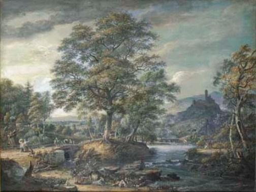 An extensive river landscape with travellers by Paul Sandby (1798-1863, United Kingdom)