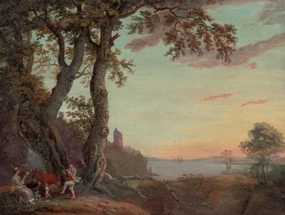An extensive wooded river landscape with an amorous couple making music under a tree by Paul Sandby (1798-1863, United Kingdom)