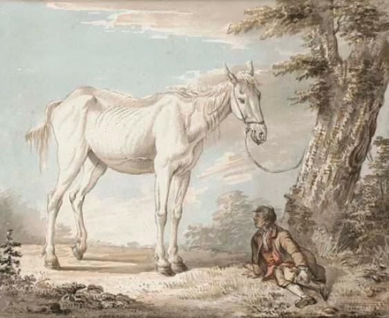 An old grey horse tethered to a tree, a boy resting nearby by Paul Sandby (1798-1863, United Kingdom)