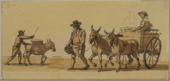 Man driving a donkey, and man leading a cart by Paul Sandby (1798-1863, United Kingdom)