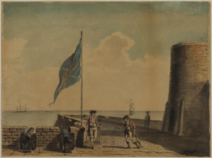 Naval post with three soldiers by Paul Sandby (1798-1863, United Kingdom)