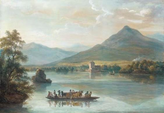 Ross Castle, Killarney, with villagers on a ferryboat by Paul Sandby (1725-1809, United Kingdom) | Art Reproduction | ArtsDot.com