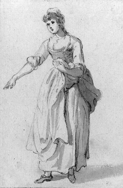 Study of a woman pointing by Paul Sandby (1725-1809, United Kingdom) | Museum Quality Reproductions | ArtsDot.com