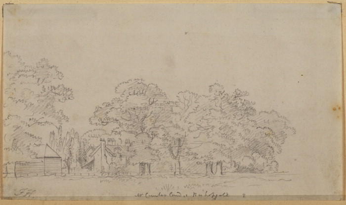 Trees and house seen from a meadow - Bishopgate by Paul Sandby (1798-1863, United Kingdom)