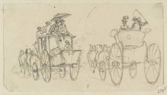 Two Coaches with Passengers by Paul Sandby (1798-1863, United Kingdom)