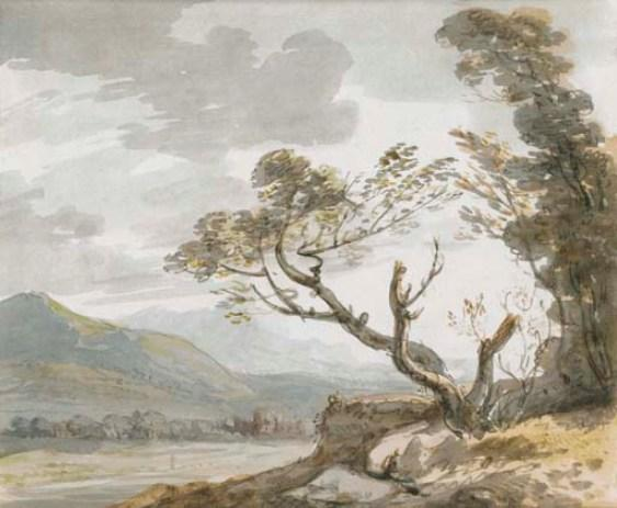 View down a valley towards distant buildings, trees in the foreground by Paul Sandby (1798-1863, United Kingdom)