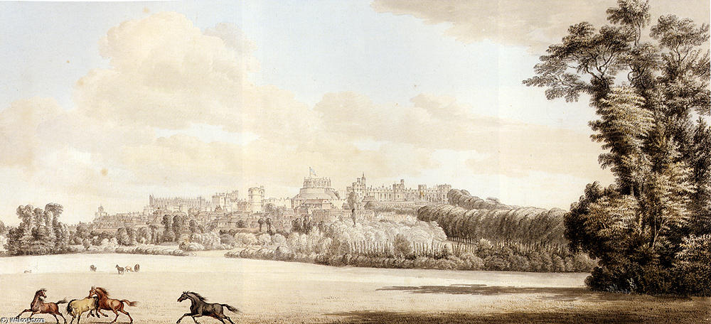Buy Museum Art Reproductions : View Of Windsor Castle And Part Of The Town From The Spital Hill by Paul Sandby (1725-1809, United Kingdom) | ArtsDot.com