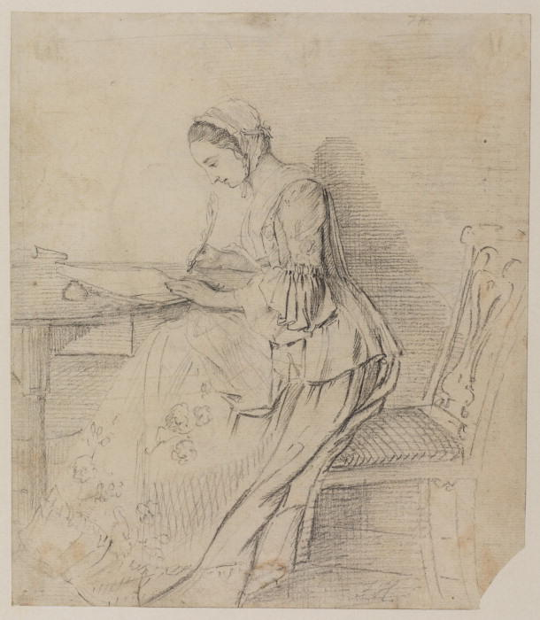 Young lady writing at a table by Paul Sandby (1798-1863, United Kingdom)