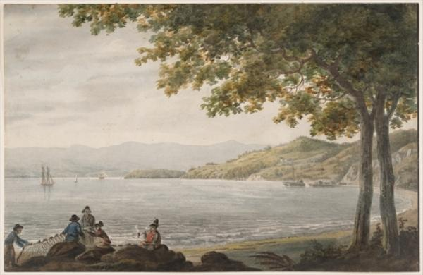Shad Fishermen on the Shore of the Hudson River by Pavel Petrovich Svinin (1787-1839, Russia) | Art Reproduction | ArtsDot.com