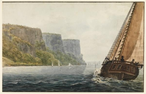 The Packet ''Mohawk of Albany'' Passing the Palisades by Pavel Petrovich Svinin (1787-1839, Russia) | ArtsDot.com