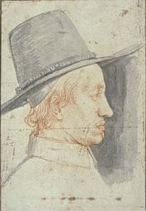 Philippe De Champaigne - Portrait of a man wearing a top hat, looking to the right