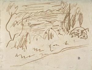 Pierre Bonnard - Small sketch of landscape with few trees along the water
