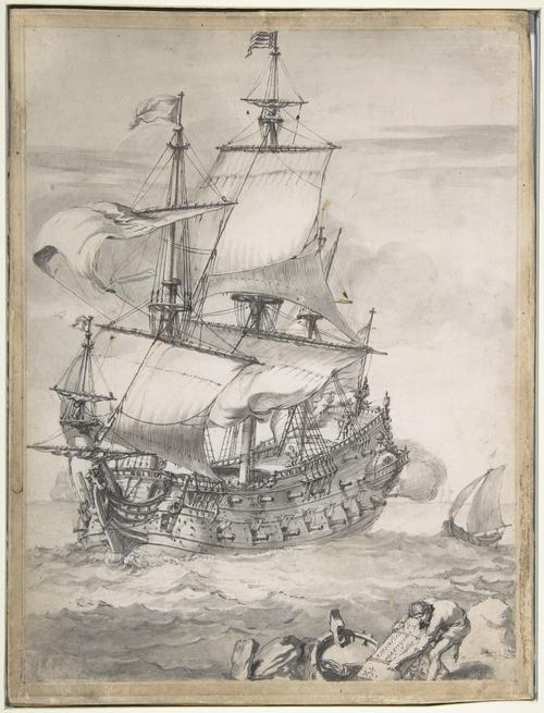 A Frigate at Sea by Pierre Puget (1620-1694, France)