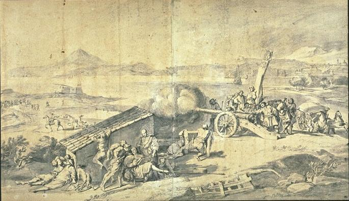 Cannon fire at the port of Antibes by Pierre Puget (1620-1694, France)