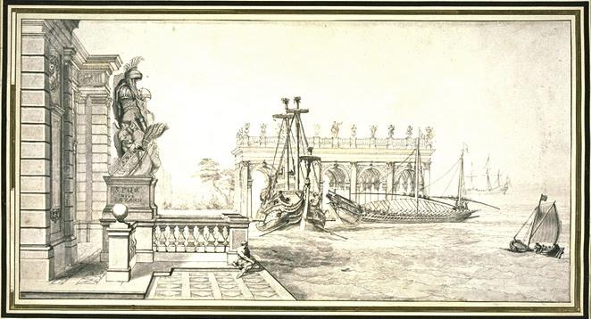 View of a port with a facade and a trophy of arms by Pierre Puget (1620-1694, France)